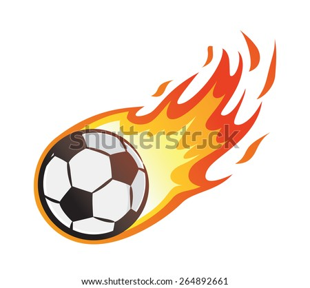 soccer ball with flame - stock vector