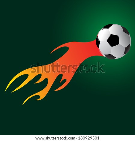 soccer ball with flame vector illustration - stock vector