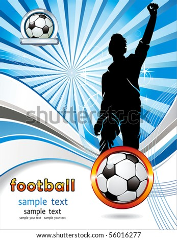 Soccer ball with silhouettes of sport fan. Vector Football background with space for your text. Abstract Classical football poster. - stock vector