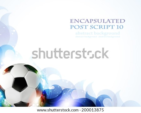 Soccer ball with transparent blue petals on a white background.  Abstract soccer background. - stock vector