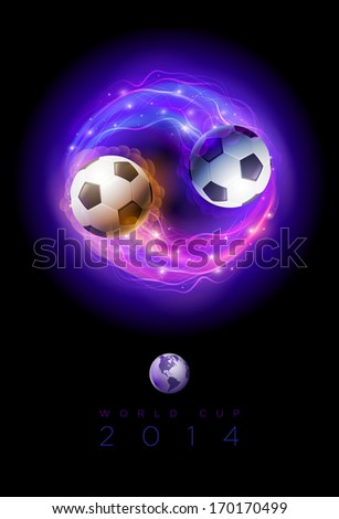 Soccer balls in flames and lights against black background. Vector poster design template. - stock vector