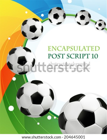 Soccer balls on rainbow  background with place for text  - stock vector