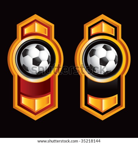 soccer balls on royal style displays - stock vector