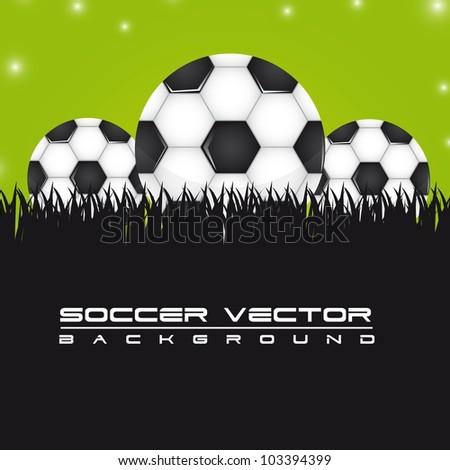 soccer balls over grass background. vector illustration - stock vector