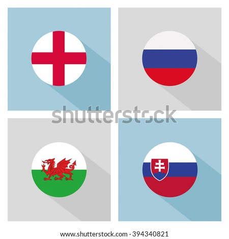 soccer balls with group B teams flags. flat design.