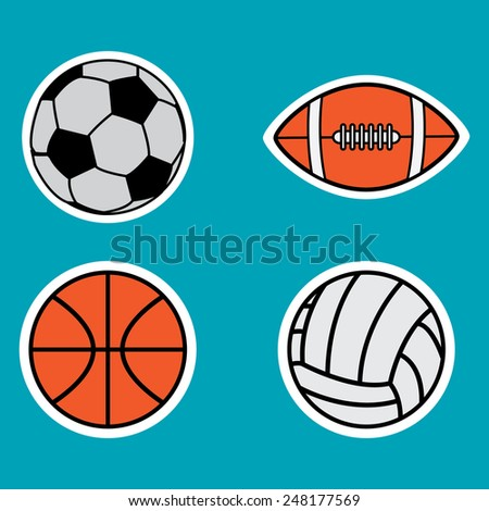 Soccer, basketball, volleyball and american football ball flat icons - stock vector