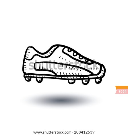 Soccer boots, Sport icon, Hand drawn vector illustration - stock vector