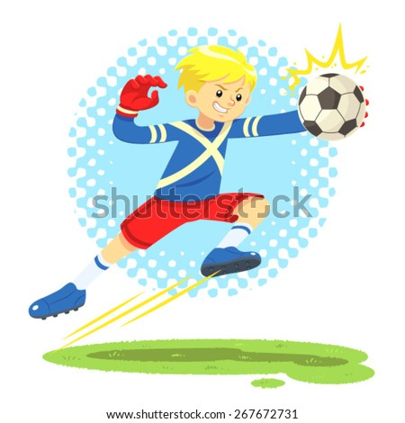 Soccer Boy Jump Aside To Catch The Ball. A soccer boy wearing blue and red uniform jump aside to catch the ball defending the goal post as goal keeper.
