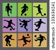 Soccer Boy Silhouettes 2. Very smooth and detail vector silhouettes. Easy to change color. Use Adobe Illustrator 8 or higher to edit or change color. - stock vector