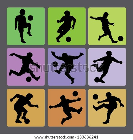 Soccer Boy Silhouettes 2. Very smooth and detail vector silhouettes. Easy to change color. Use Adobe Illustrator 8 or higher to edit or change color.
