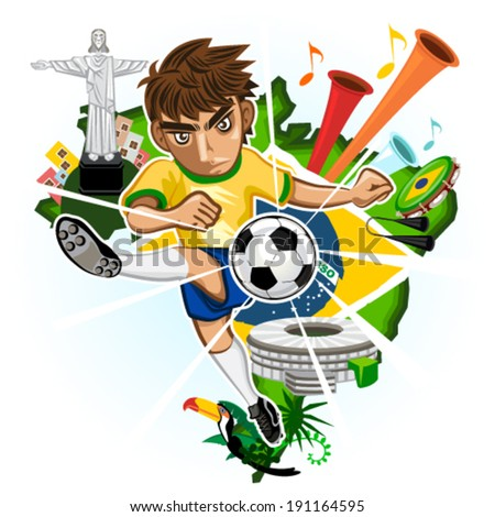 SOCCER BRAZIL with background of Brazilian Icons and Landmarks - stock vector