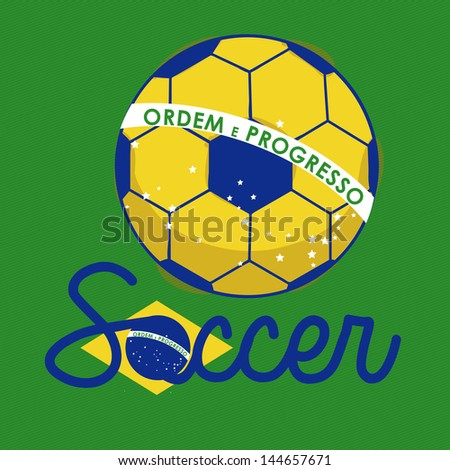 soccer brazilian over green background vector illustration - stock vector