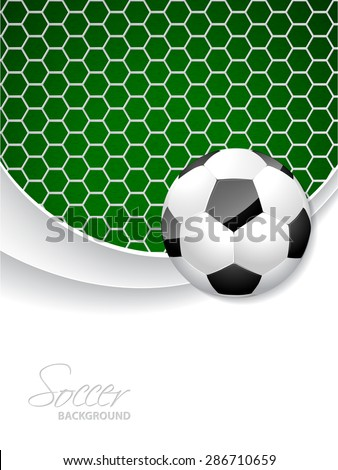 Soccer brochure design with ball in front and net in background - stock vector