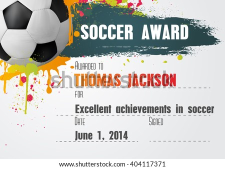 Soccer Certificate Template Football Ball Icon Stock Vector