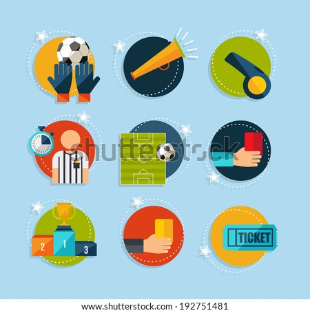 Soccer Champions flat icons set. EPS10 vector organized in layers for easy editing. - stock vector