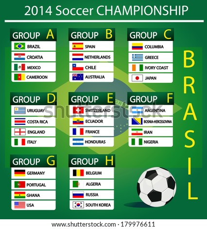 soccer championship 2014 - stock vector