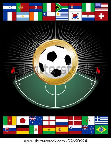 Soccer Championship Composition with corner zone and soccer ball. - stock vector