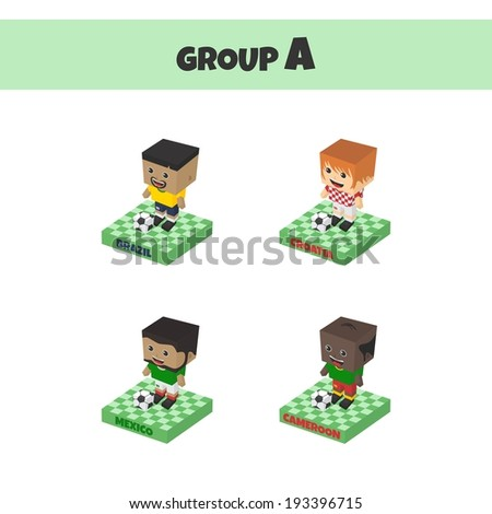 soccer championship cup block isometric cartoon character - stock vector