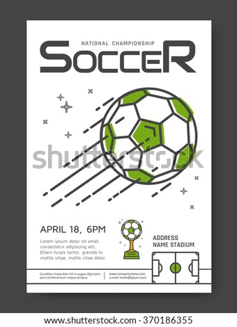 Soccer championship line posters design. Sport competition. Vector illustration. - stock vector