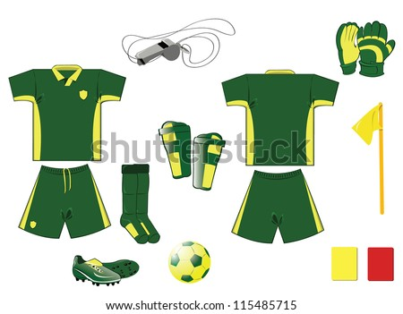 Soccer clothing and accessories, every object is singly grouped - stock vector