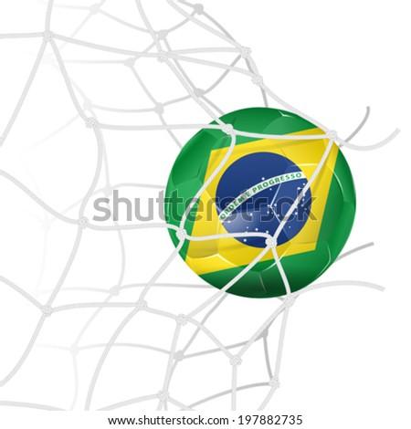 Soccer Concept - Goal. Soccer Ball in color Flag Brazil in Net Torn, vector isolated on white background - stock vector