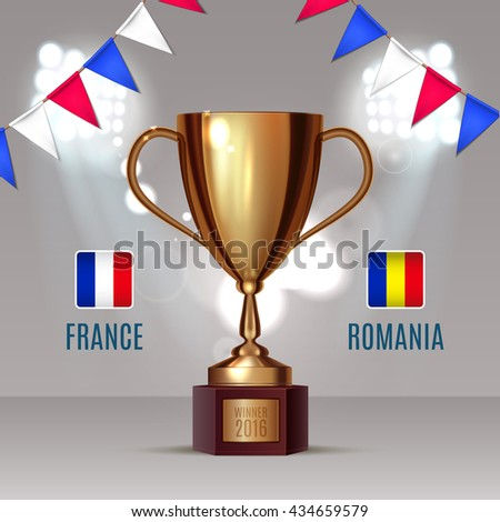 Soccer cup, Euro 2016 France, football championship, match France Romania gold cup on soccer field with football light and garland color of France eps 10 - stock vector
