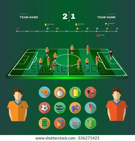 Soccer 3D Stadium Game Field. Strategic Planning Football Match Infographics. Team Match. Digital background vector illustration. - stock vector