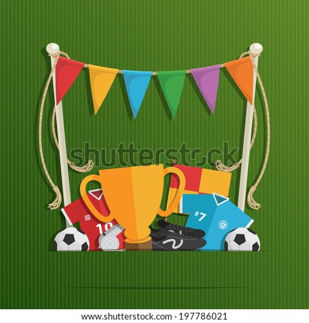 soccer decoration with bunting and objects with space for text, eps 10 file with transparencies - stock vector