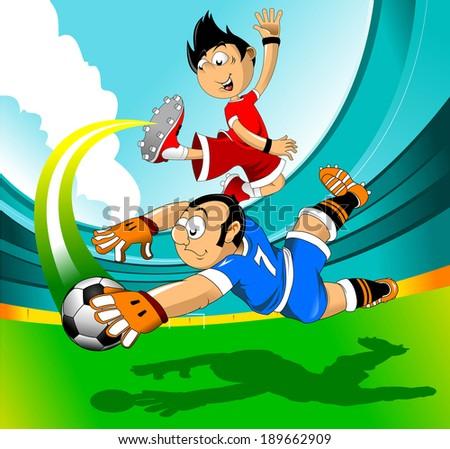 soccer design element, green background (vector-illustration) - stock vector