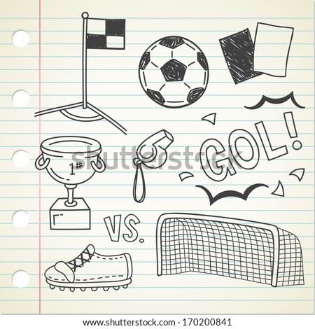 soccer doodle - stock vector