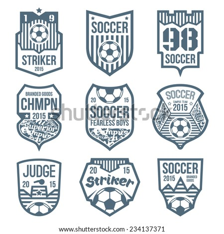 Soccer emblems in flat style - stock vector