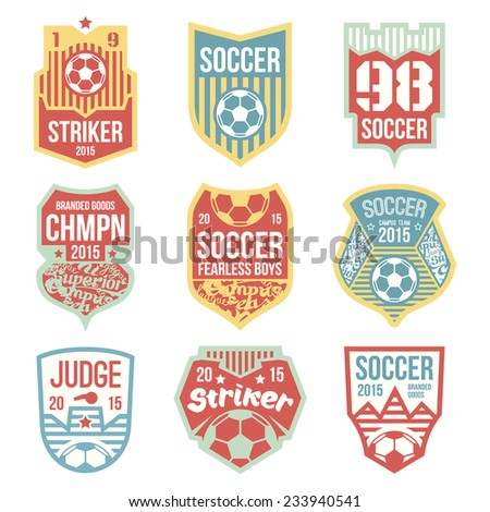 Soccer emblems in flat style. Color print - stock vector