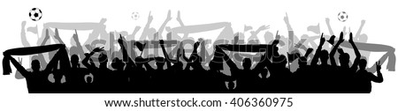 soccer fans crowd silhouette - stock vector