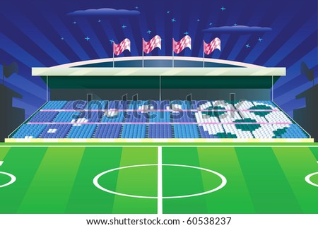 Soccer field and detailed tribune where ball drawn with seats. Vector illustration. - stock vector