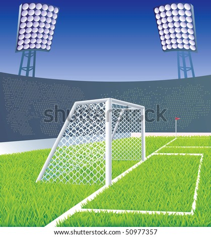 Soccer field and stadium with detailed goal and grass. Vector illustration. - stock vector