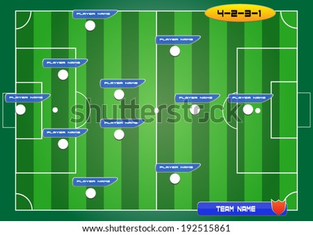 soccer field background with strategy formation tactics 4-2-3-1 - stock vector