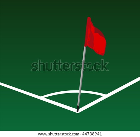 Soccer field corner with flying red flag - stock vector