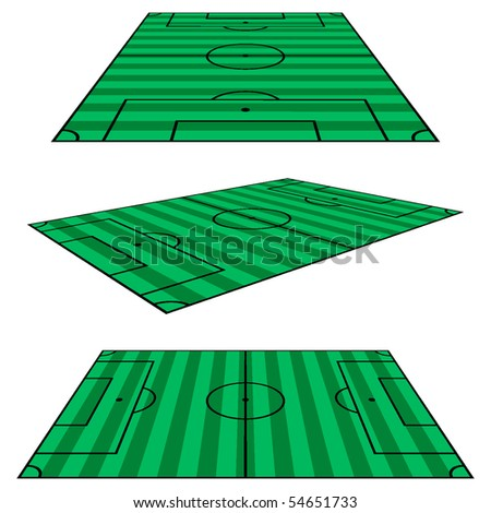 Soccer field, different perspectives. Vector. - stock vector
