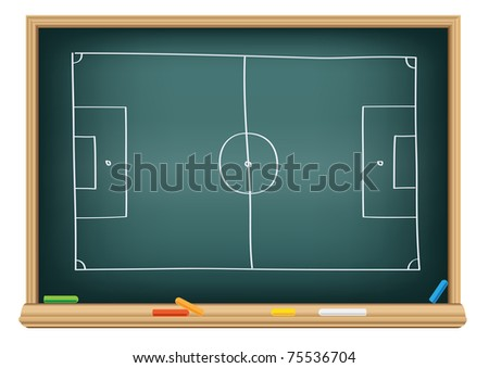 soccer field on the school blackboard to drawing strategy