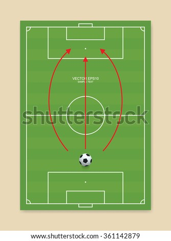 Soccer field or football field and soccer ball. Vector soccer vision idea for template design. - stock vector