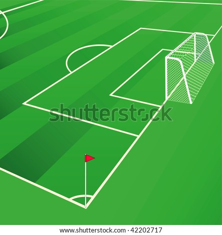 Soccer  field view from corner flag. Vector illustration. - stock vector