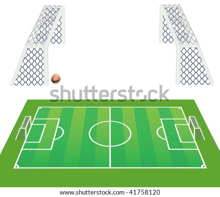 Soccer field view from long side and detailed goals. Vector illustration.