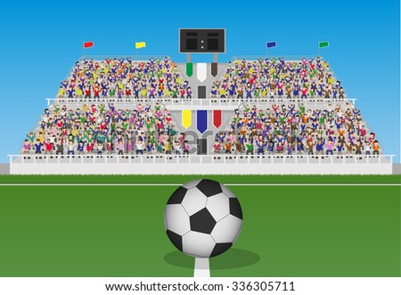 Soccer Field With Ball and Crowd in Grandstand. Vector - stock vector