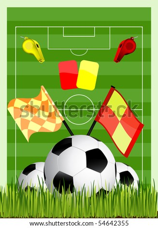 soccer field with ball cards offside flag and whiste - stock vector