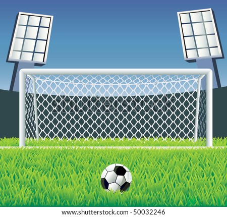 Soccer field with detailed goal and grass. Vector illustration. - stock vector
