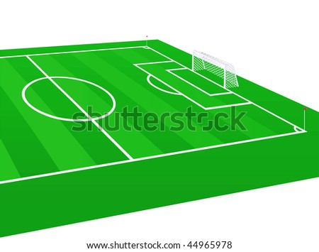 Soccer field  with detailed goal. Vector illustration.