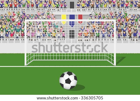 Soccer Field With Goal, Ball and Crowd in Grandstand. Vector - stock vector