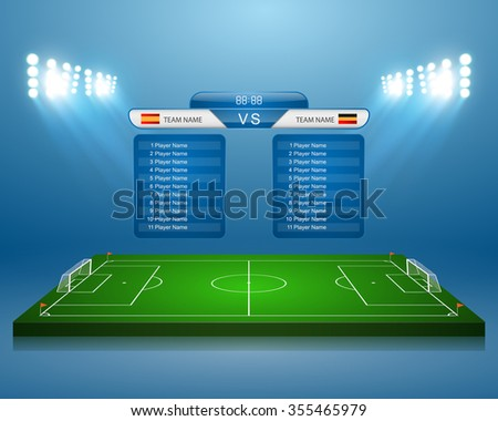 Soccer field with scoreboard,vector - stock vector