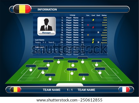 soccer field with set of infographic elements - stock vector