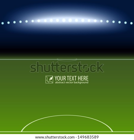 Soccer field with white lines on green - stock vector